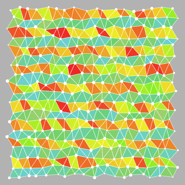 Variation of colour, less transparency, lighter background. Didn't notice at this point that the fill is not per triangle but 2 triangles together.