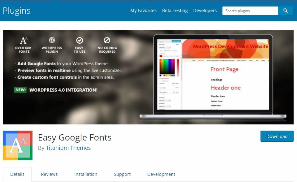 Using Easy Google Fonts Plugin